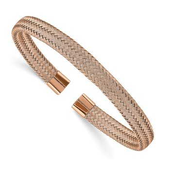 Stainless Steel Polished Rose IP-plated 6mm Mesh Wire Cuff Bangle