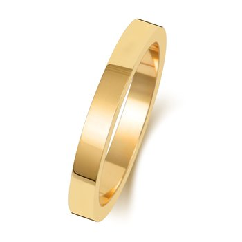 18Ct Yellow Gold 2.5mm Flat Flat Wedding Ring