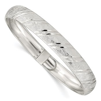 Sterling Silver 10.5mm Polished D/C Flexible Bangle