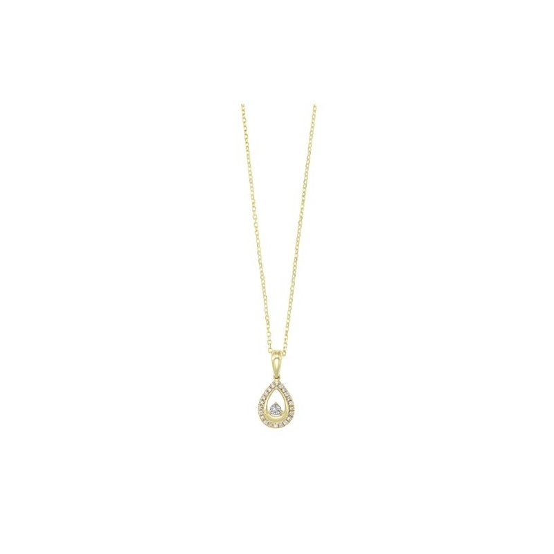 Gems One Diamond Teardrop Halo Dangle Pendant Necklace in 14k Yellow Gold (0.08ctw)