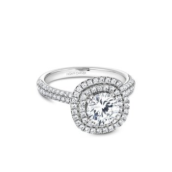 Round Double Halo Engagement RIng