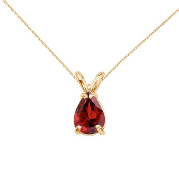 14k Yellow Gold Pear Shaped Garnet Pendant