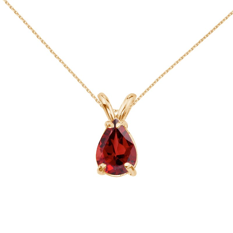 Color Merchants 14k Yellow Gold Pear Shaped Garnet Pendant