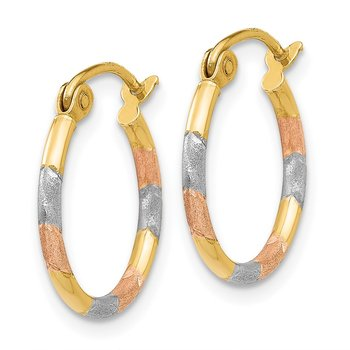 14K w/White and Rose Rhodium 1.5mm Diamond Cut Hoop Earrings