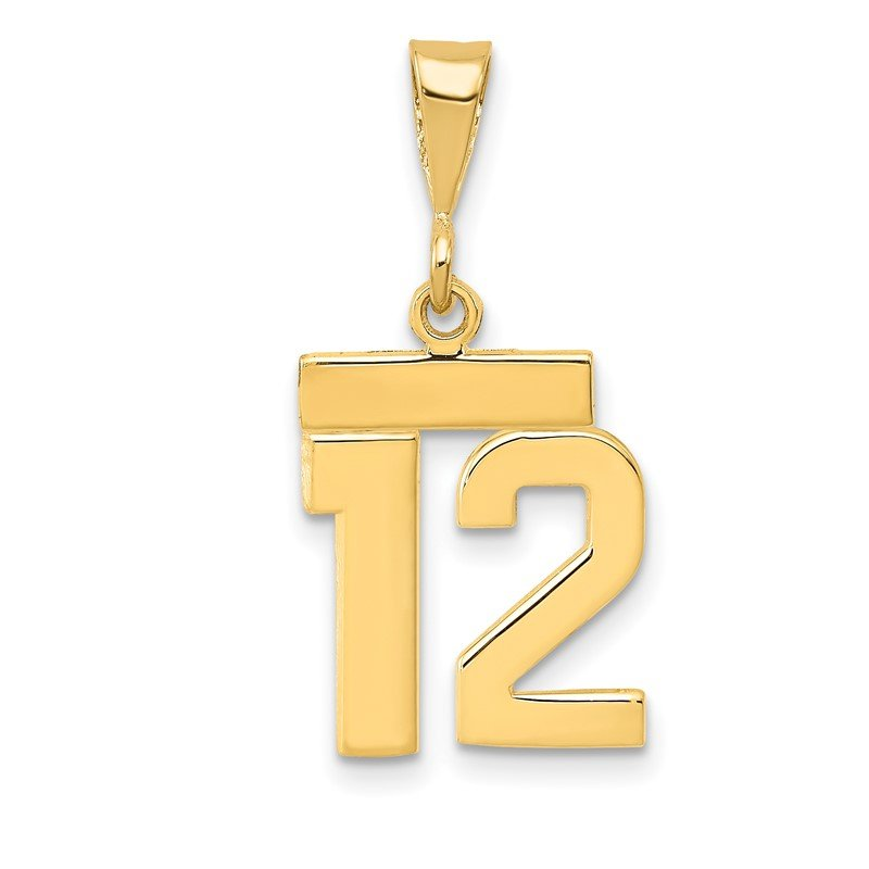 Quality Gold 14k Small Polished Number 12 Charm