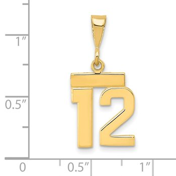 14k Small Polished Number 12 Charm