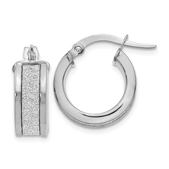 Leslie's 14k White Gold Fancy Glimmer Infused Hoop Earrings