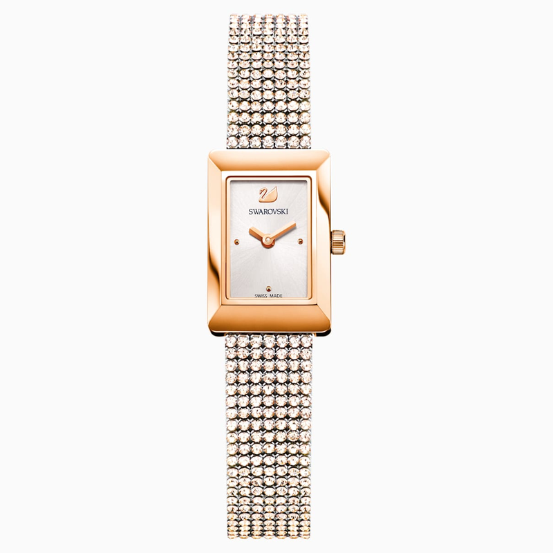 Swarovski Memories Watch, Crystal Mesh strap, White, Rose-gold tone PVD