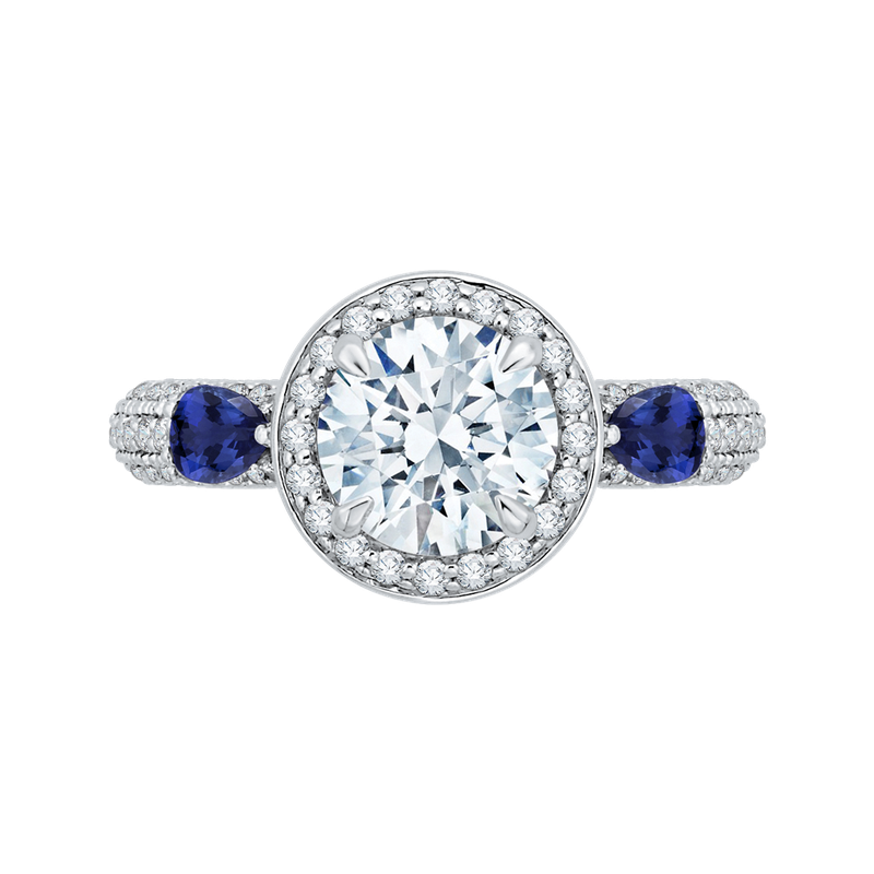 Carizza 14K White Gold Round Diamond Halo Engagement Ring with Sapphire (Semi-Mount)