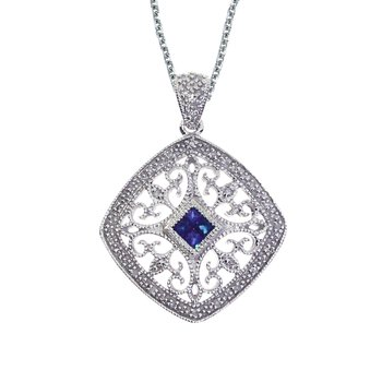 14k White Gold Sapphire and Diamond Filigree Square Pendant
