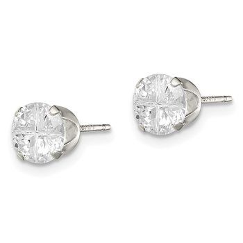 Sterling Silver 6mm Round Snap Set Cross-cut CZ Stud Earrings