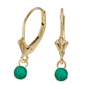 10k Yellow Gold 5mm Round Genuine Emerald Lever-back Earrings