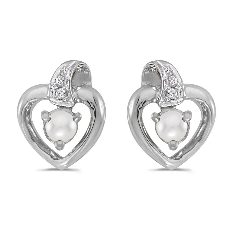 Color Merchants 14k White Gold Freshwater Cultured Pearl And Diamond Heart Earrings