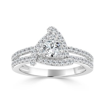 14 KT White gold with 3/8 Center Engagement ring (1.06 CTW)