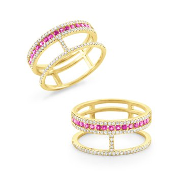 Pink Sapphire & Diamond Double Band Ring Set in 14 Kt. Gold