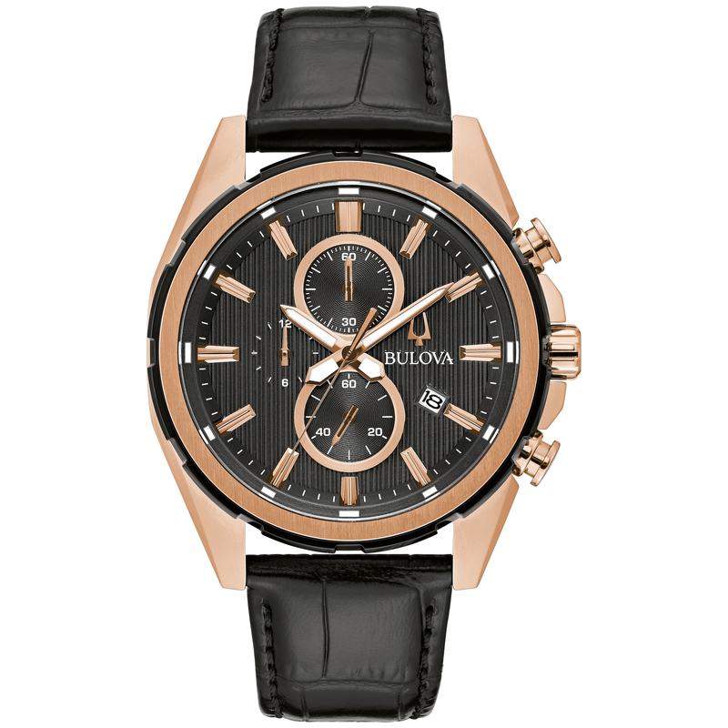 Bulova Rose Gold-Tone and Black Strap Chronograph