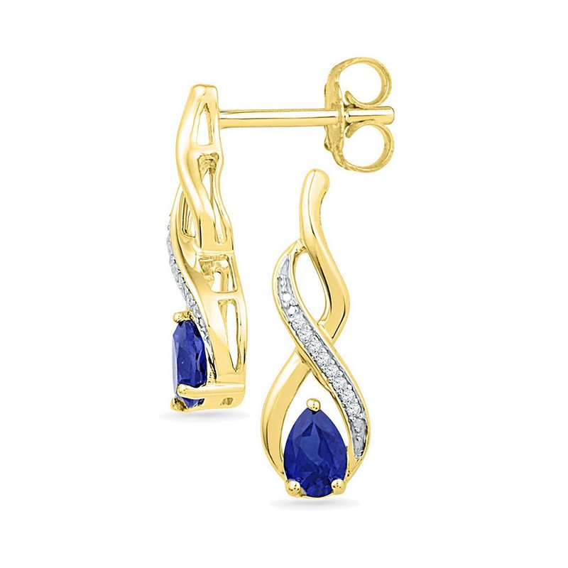 Kingdom Treasures 10kt Yellow Gold Womens Pear Lab-Created Blue Sapphire Diamond Stud Earrings 1/20 Cttw