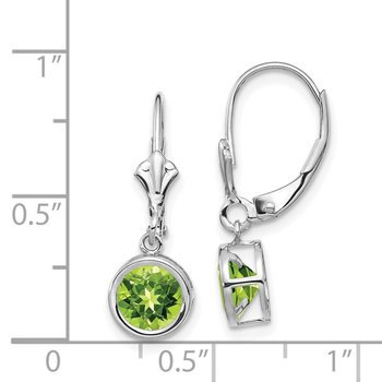 14k White Gold 6mm Peridot Leverback Earrings