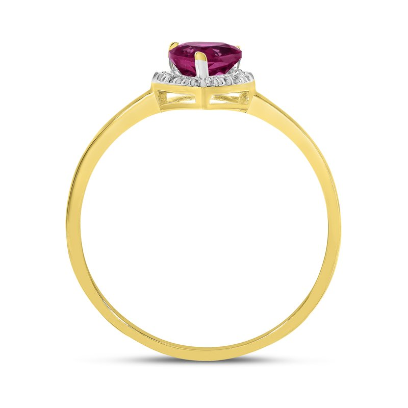 Color Merchants 10k Yellow Gold Pear Ruby And Diamond Ring