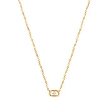 Isla| Floating Diamond Paper Clip Halo Necklace