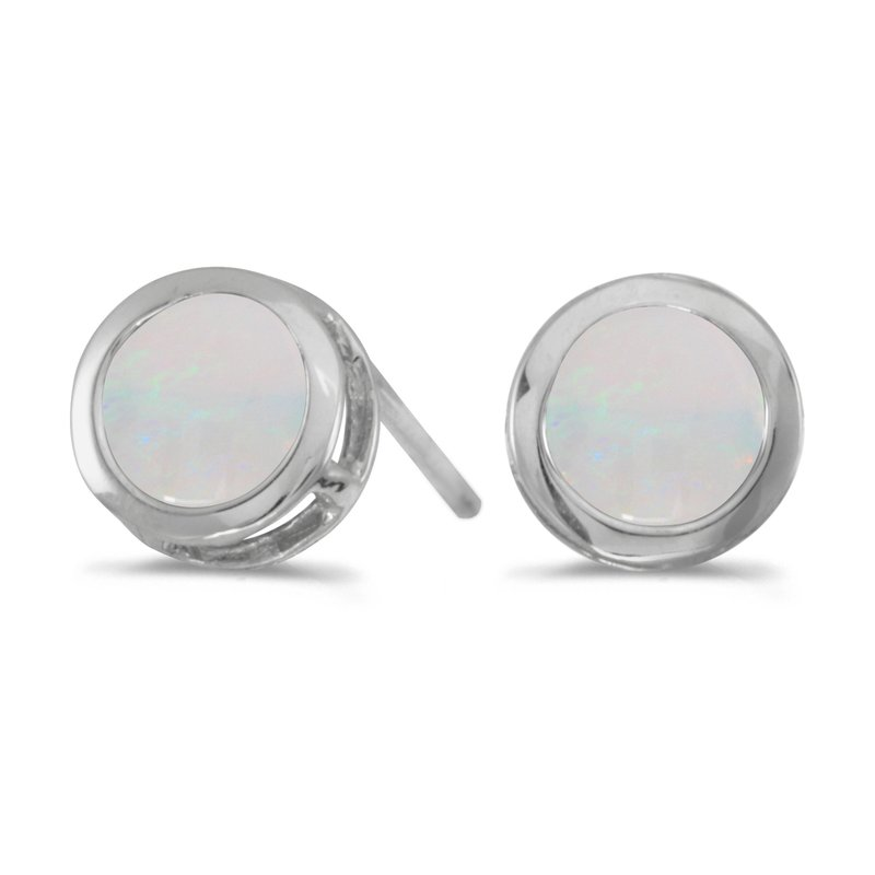Color Merchants 14k White Gold Round Opal Bezel Stud Earrings