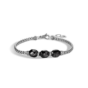 Classic Chain Station Bracelet in Silver with Gemstone