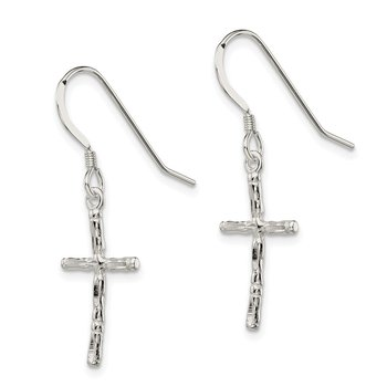 Sterling Silver Polished Cross Earrings