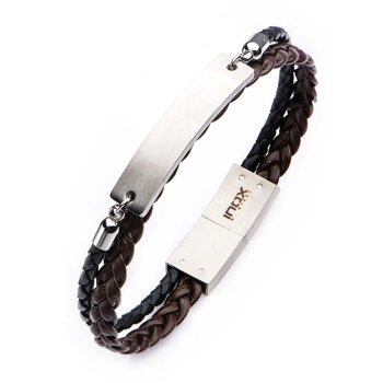 Brown-Black Modern Engravable Leather ID Bracelet