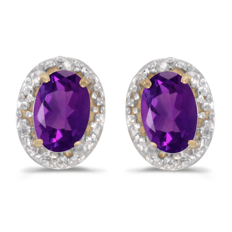 Color Merchants 14k Yellow Gold Oval Amethyst And Diamond Earrings