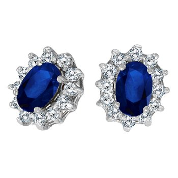 14k White Gold Oval Sapphire and .25 total ct Diamond Earrings