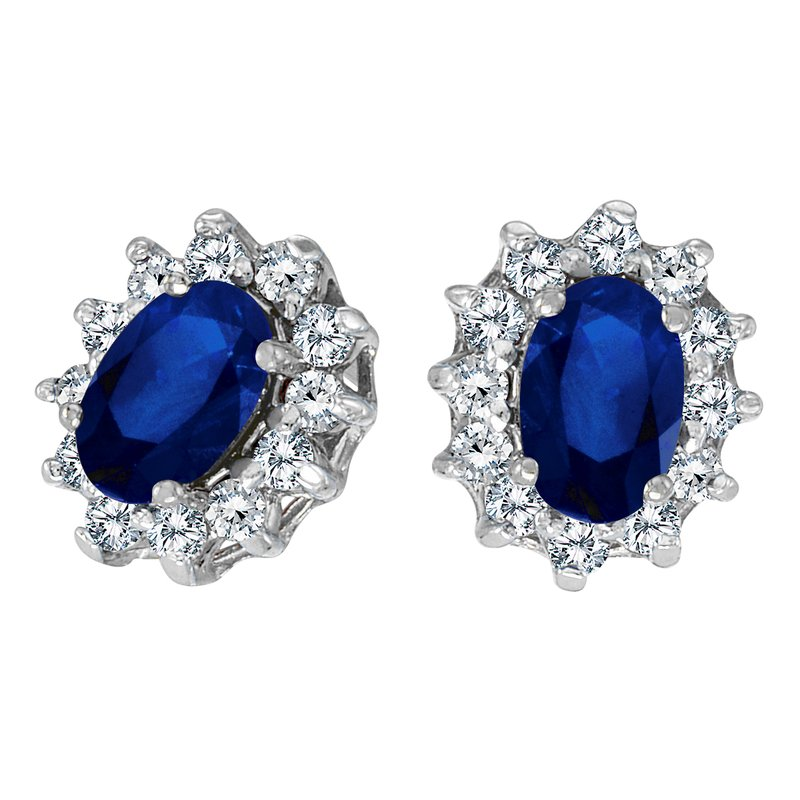 Color Merchants 14k White Gold Oval Sapphire and .25 total ct Diamond Earrings