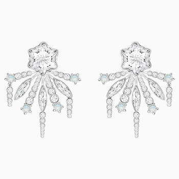 Merry Pierced Earring Jackets, White, Rhodium plated