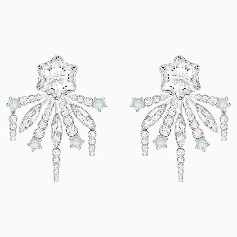 Swarovski Merry Pierced Earring Jackets, White, Rhodium plated