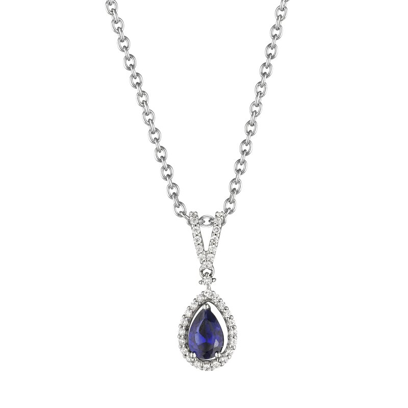 Fana Pear Shape Sapphire and Diamond Pendant