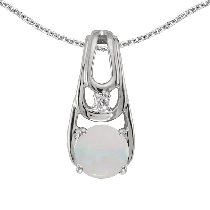 Color Merchants 14k White Gold Round Opal And Diamond Pendant