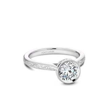 Bezel Set Engraved Solitaire Engagement Ring