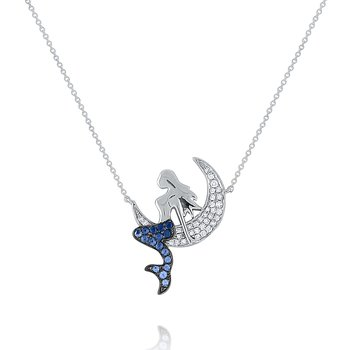 Blue Sapphire Mermaid Necklace Set in 14 Kt. Gold
