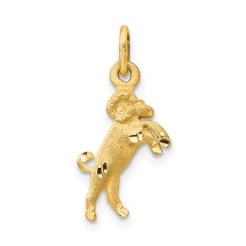 14k Satin Diamond-cut Aries Zodiac Charm