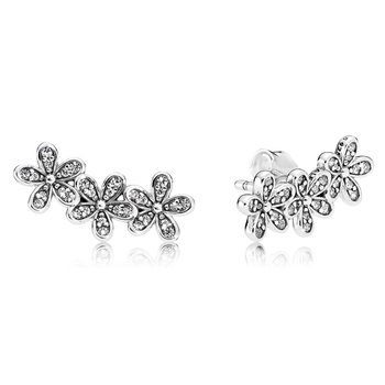 Dazzling Daisies Stud Earrings, Clear Cz