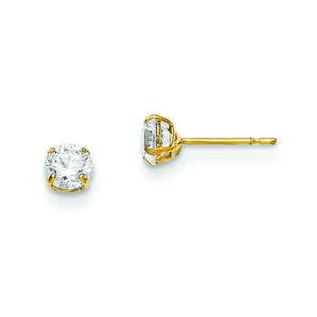 14k Madi K 4mm Round CZ Basket Set Stud Earrings