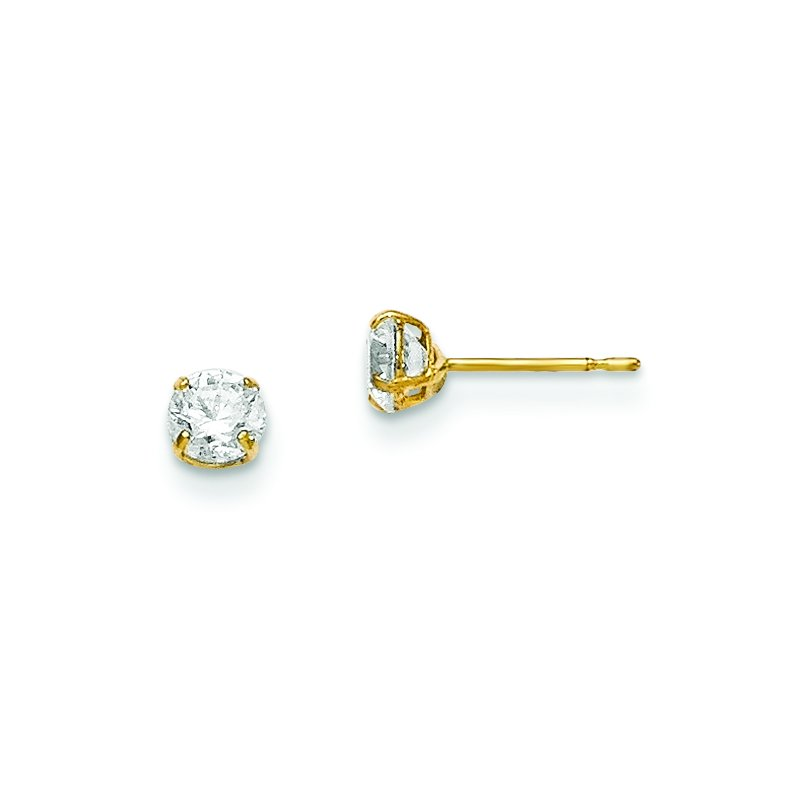 Quality Gold 14k Madi K 4mm Round CZ Basket Set Stud Earrings