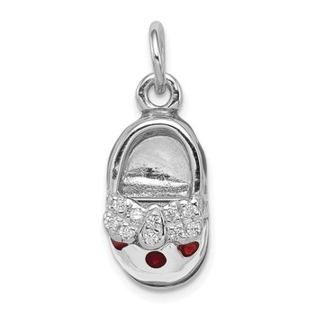 Sterling Silver Rhodium-plated Enameled Shoe Charm