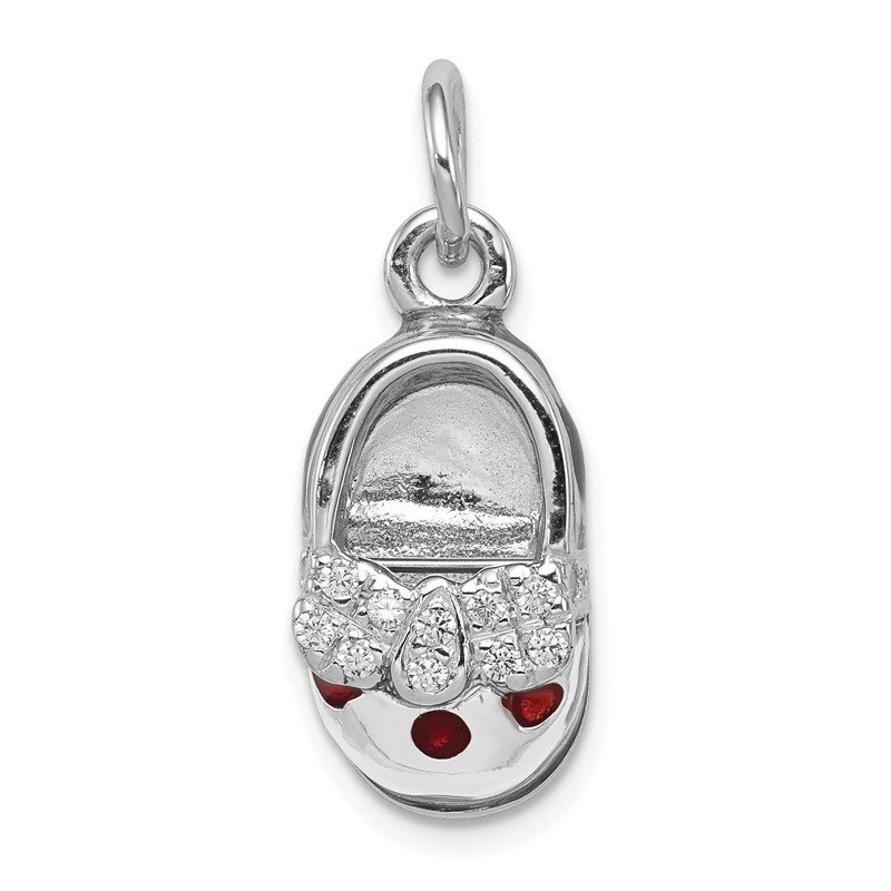 Quality Gold Sterling Silver Rhodium-plated Enameled Shoe Charm