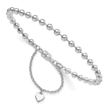 Sterling Silver Rhodium Plated Beaded Dangling Heart Magnetic Clasp Bracele