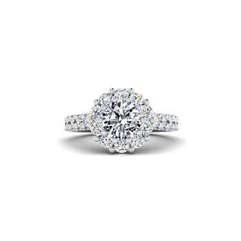 Flowery Diamond Halo Engagement Ring