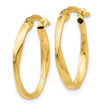 14K Gold Polished Twisted Oval Hoop Earrings