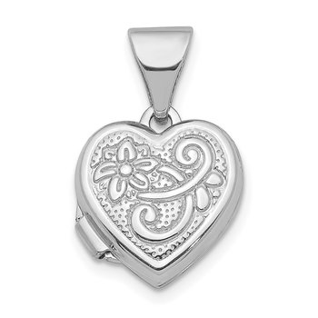 14K White Gold 11mm Flower Heart Locket Pendant