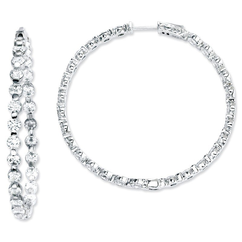 Arizona Diamond Center Collection Sterling Silver CZ 54 Stones In and Out Round Hoop Earrings