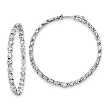 Sterling Silver CZ 54 Stones In and Out Round Hoop Earrings