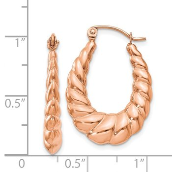 14k Rose Gold Polished Twisted Hollow Hoop Earrings